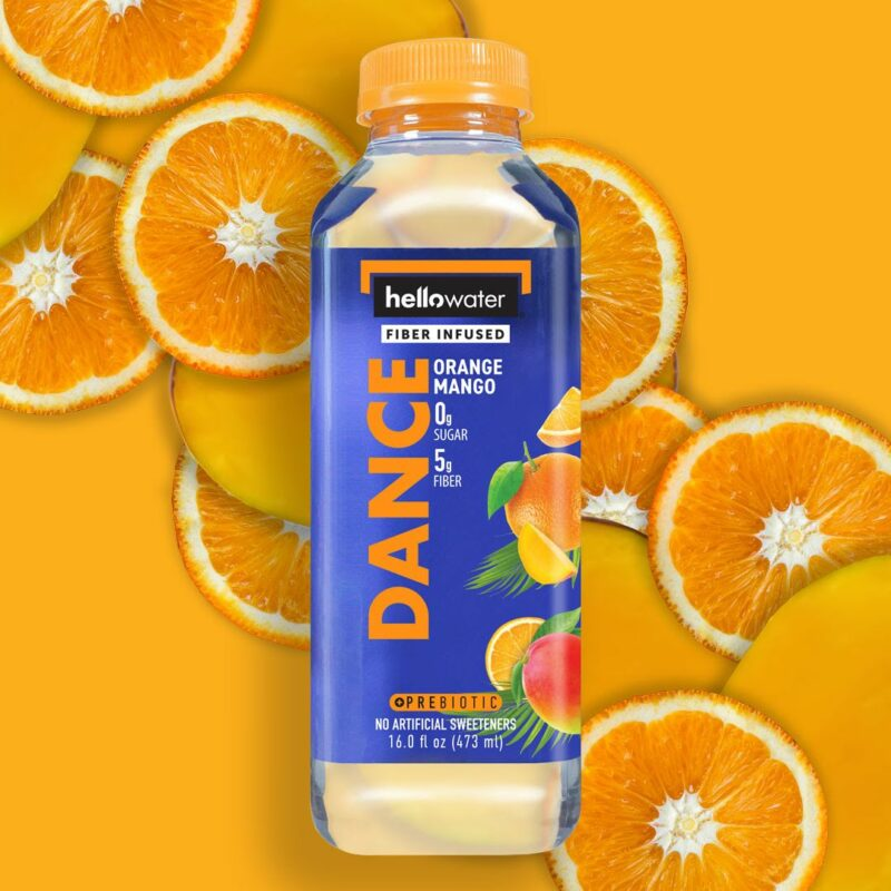 hellowater® prebiotic - fiber infused flavored water - dance - orange mango
