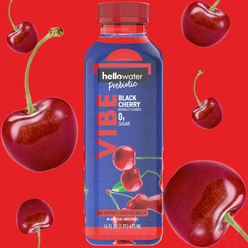 hellowater® Prebiotic Fiber Water - VIBE - Black Cherry