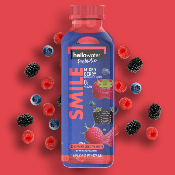 hellowater®Prebiotic Fiber Water - SMILE - Mixed Berry