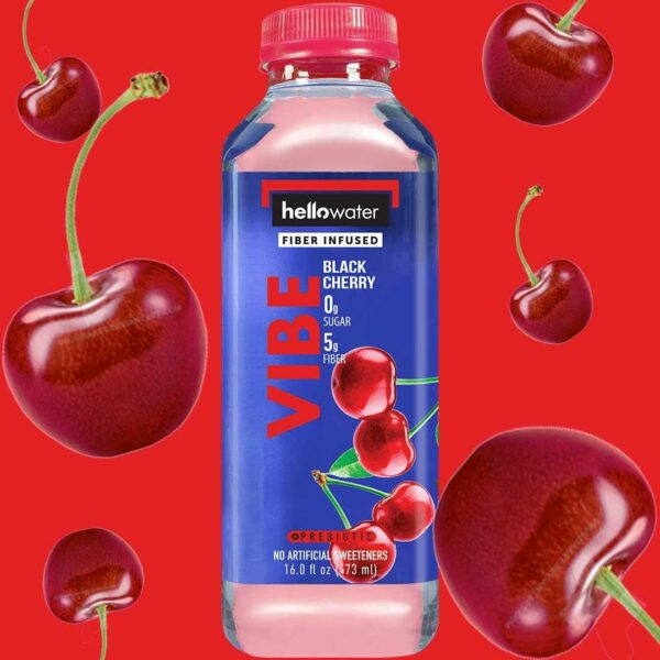 hellowater® prebiotic - fiber infused flavored water - vibe - black cherry