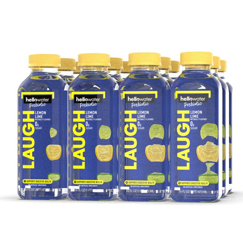 hellowater®Prebiotic Fiber Water- pack of 12 - LAUGH - Lemon Lime