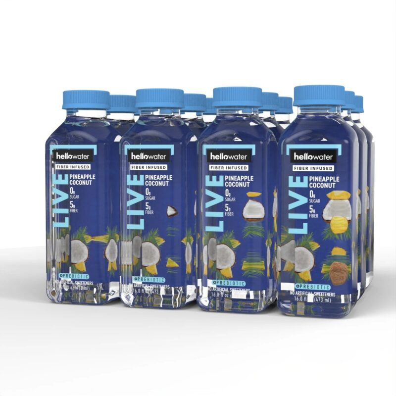 hellowater® Prebiotic fiber infused flavored water - live- pineapple coconut 1200x