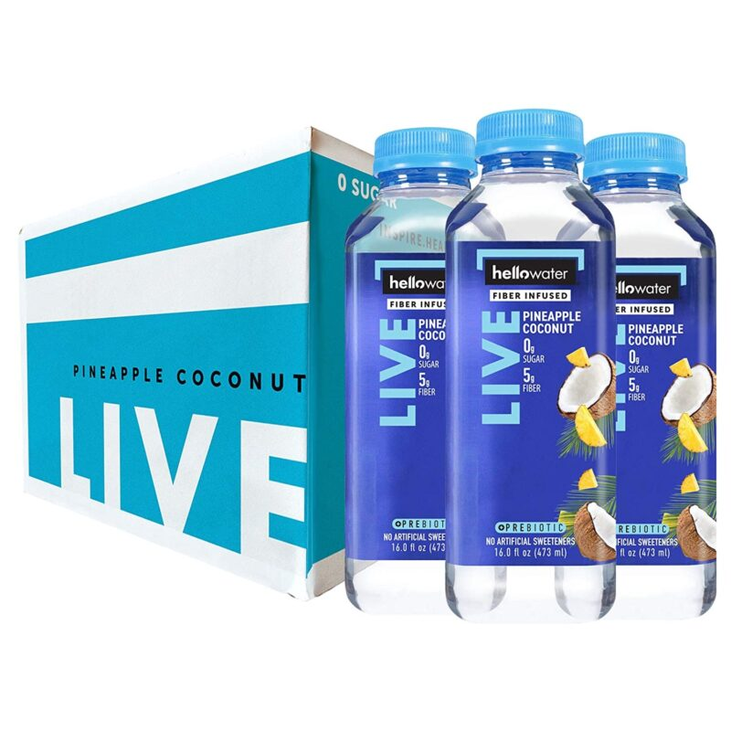 hellowater® Prebiotic fiber infused flavored water - live- pineapple coconut 1500x