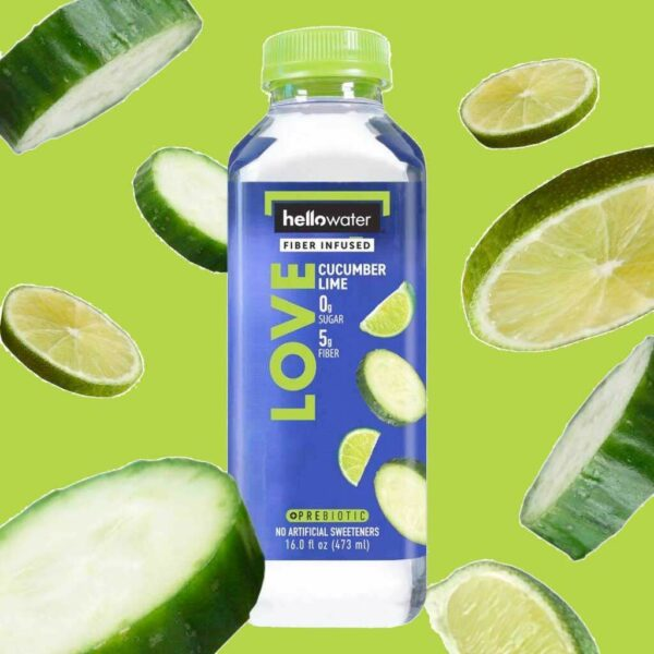 hellowater® prebiotic - fiber infused flavored water - love - cucumber lime