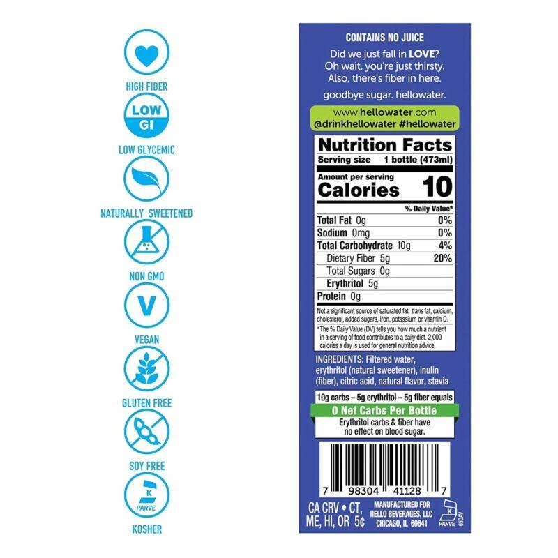 hellowater® Prebiotic fiber infused flavored water - ingredients